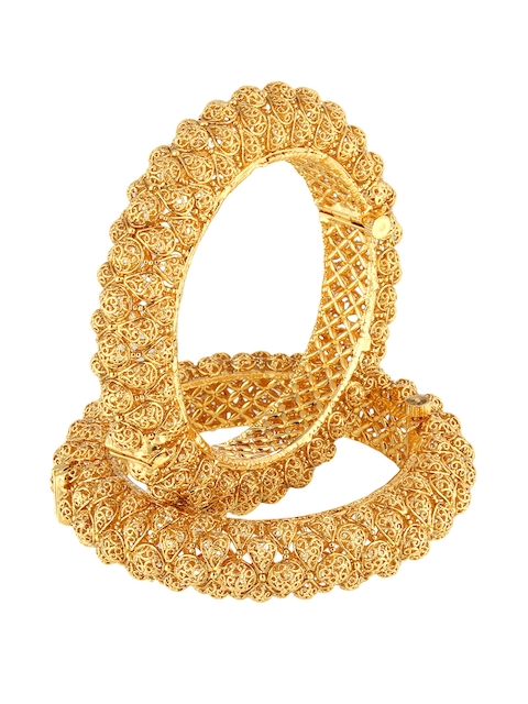 Adwitiya Collection Women Set of 2 24 kt Gold-Plated Handcrafted Bangles
