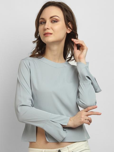 LA LOFT Women Grey Solid Crop Top
