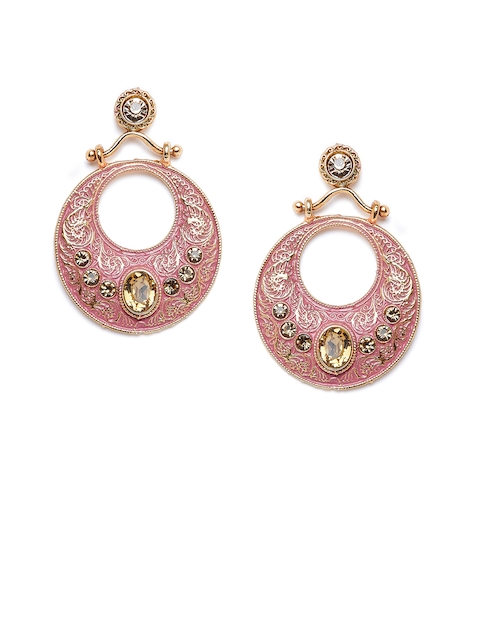 PANASH Gold-Plated & Pink Handcrafted Circular Drop Earrings
