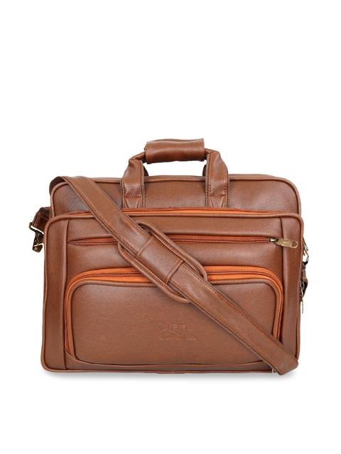 Leather World Unisex Tan Solid Laptop Bag