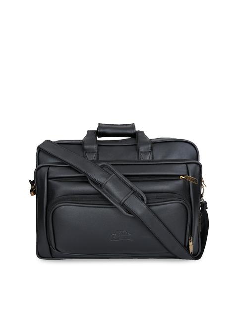 Leather World Unisex Black Solid Laptop Bag