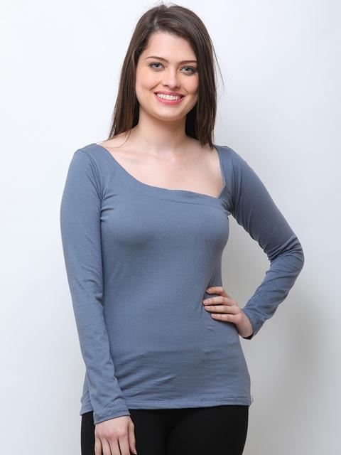 SCORPIUS Women Blue Solid Top