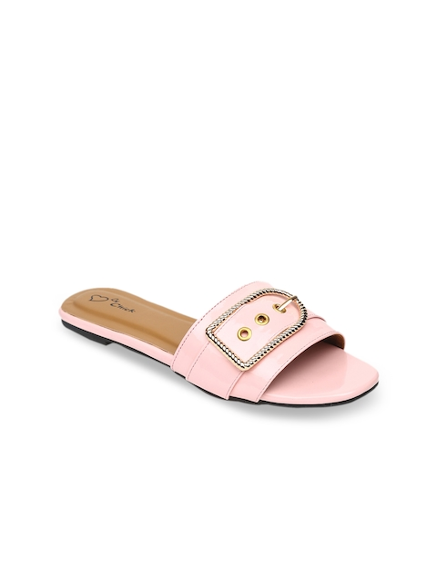 Lovely Chick Women Pink Solid Synthetic Patent Open Toe Flats