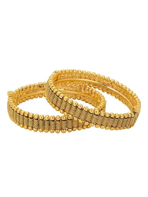 Adwitiya Collection Set of 2 24KT Gold-Plated Bangles
