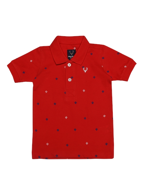 Allen Solly Junior Boys Red Printed Polo Collar T-shirt