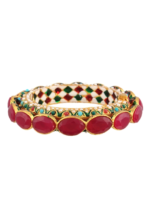 Adwitiya Collection Multicoloured 24K Gold-Plated Artificial Stone-Studded Bangles