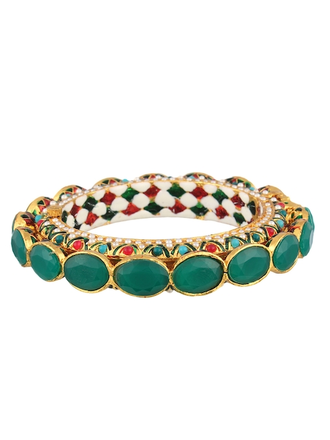 Adwitiya Collection Multicoloured 24k Gold-Plated Artificial Stone-Studded Bangle