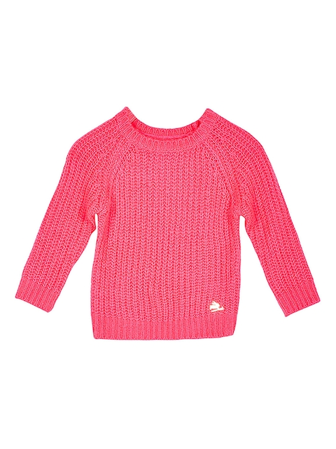 Cherry Crumble Girls Pink Ribbed Sweater