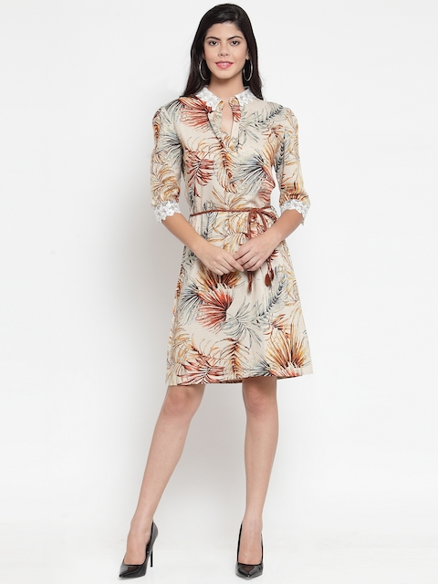 Just Wow Women Cream-Coloured & Brown Tropical Printed A-Line Dress