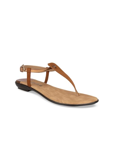 SOLES Women Brown Colourblocked T-Strap Flats