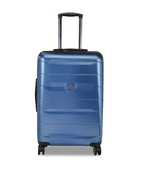 DELSEY Blue Solid Comete Hard-Sided Cabin Trolley Suitcase