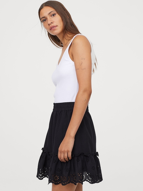 H&M Women White Solid Skirt with Broderie Anglaise