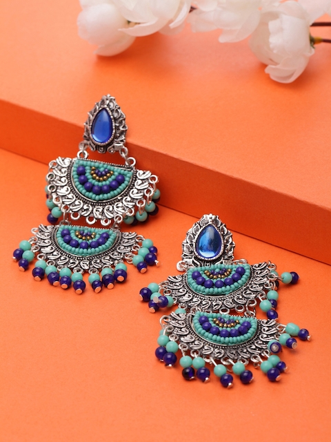 Moedbuille Blue & Silver-Plated Handcrafted Afghan Oxidised Classic Drop Earrings