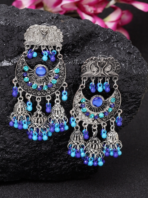 Moedbuille Silver-Plated Blue & Turquoise Blue Afghan Peacock Shaped Drop Earrings
