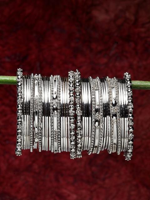 Shining Diva Women Set of 40 Silver-Plated Bangles