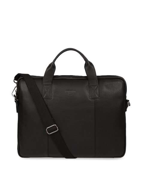 PURE LUXURIES LONDON Men Black Genuine Leather Cultured Range Alex Laptop Bag