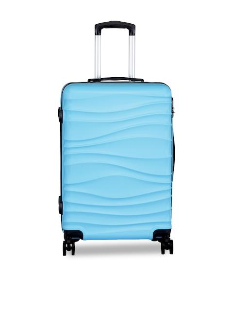 Teakwood Leathers Unisex Blue Solid Medium Trolley Bag
