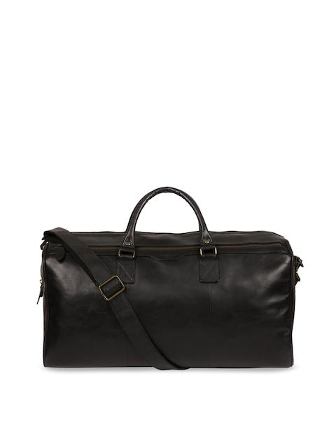 PURE LUXURIES LONDON Men Black Conkca Collection Genuine Leather Edu Duffel Bag