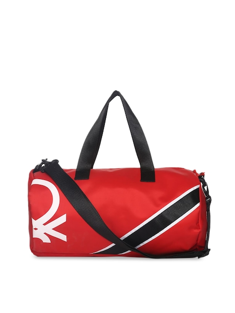 United Colors of Benetton Unisex Red Printed Duffel Bag