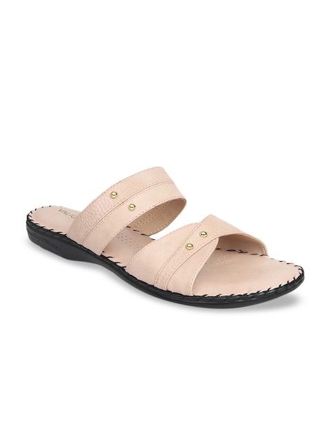 VALIOSAA Women Beige Textured Open Toe Flats