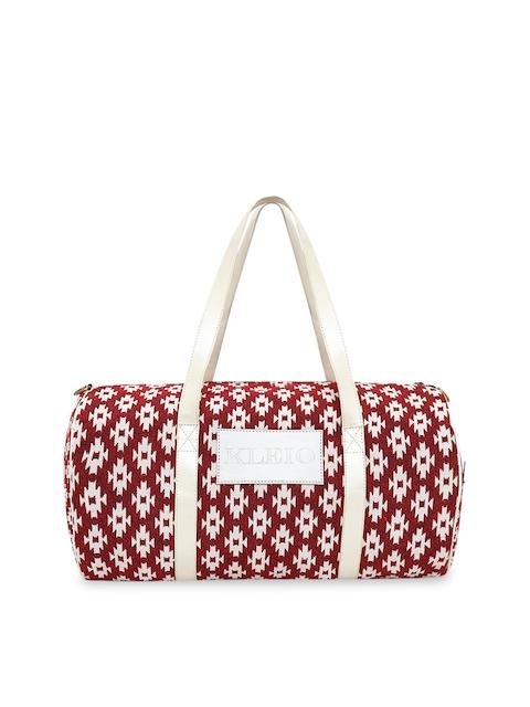 KLEIO Unisex Maroon & White Woven Design Duffel Bag