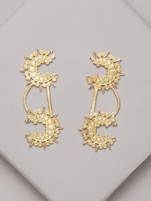 PANASH Gold-Plated Contemporary Drop Earrings