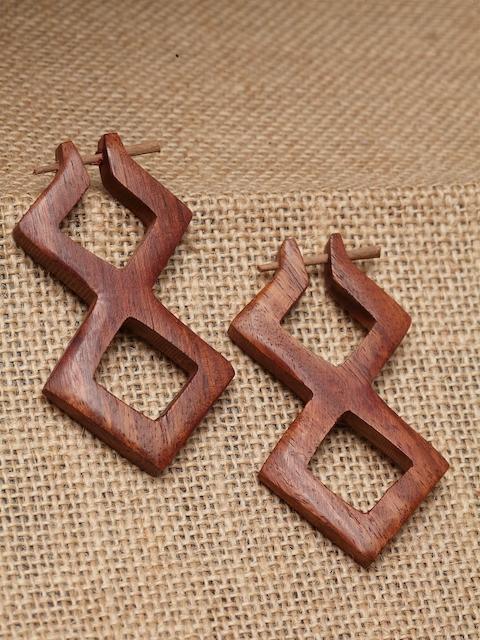 PANASH Brown Quirky Handcrafted Hoop Earrings