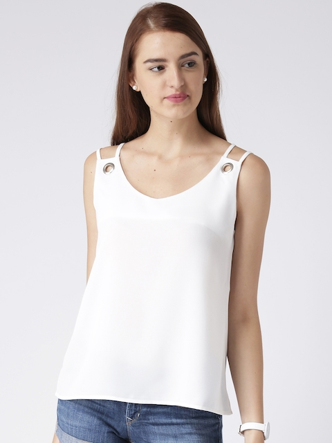 KASSUALLY Women White Solid A-Line Top