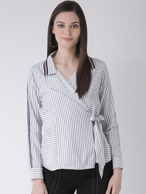 Texco Women Blue & White Regular Fit Striped Casual Shirt