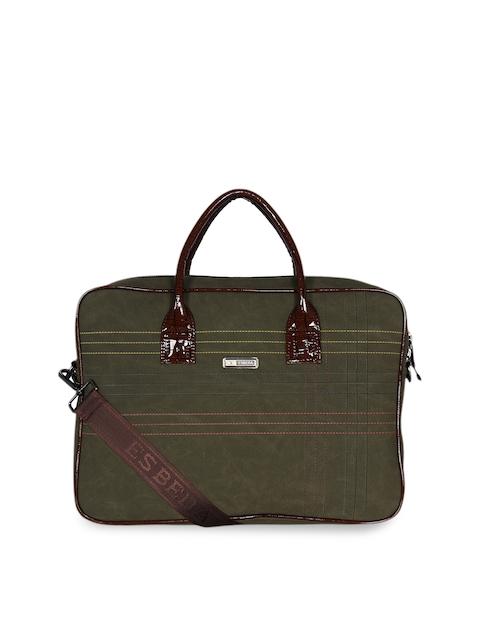 ESBEDA Unisex Green Solid Laptop Bag
