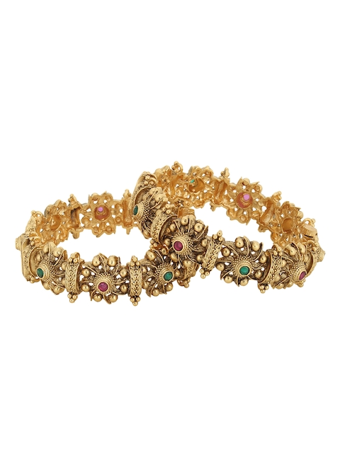 Adwitiya Collection Set of 2 Gold-Plated Pink & Green Stone Studded Oxidized Handcrafted Bangles