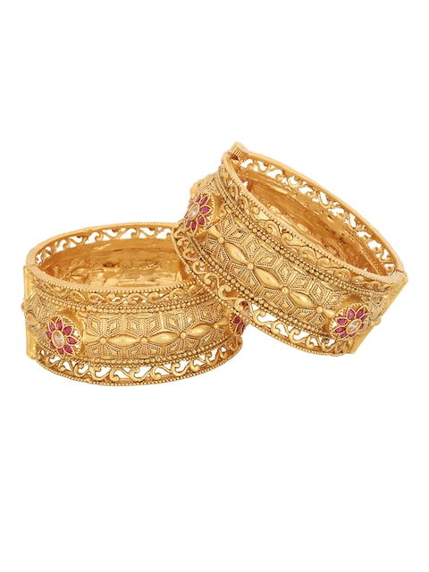 Adwitiya Collection Set of 2 Gold-Plated Magenta Stone Studded Handcrafted Bangles