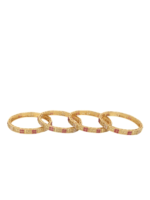 Adwitiya Collection Set of Four 24k Gold-Plated Pink & White Stone-Studded Handcrafted Bangles