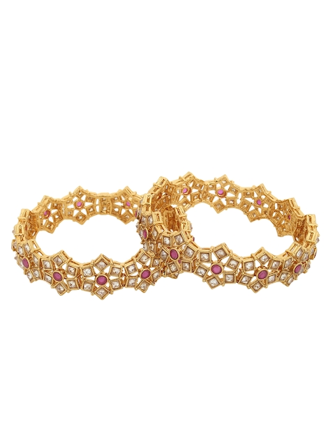Adwitiya Collection Set Of 2 Gold-Plated Bangles
