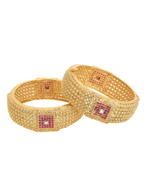 Adwitiya Collection Set of 2 Gold-Plated Pink & White Stone-Studded Handcrafted Bangles