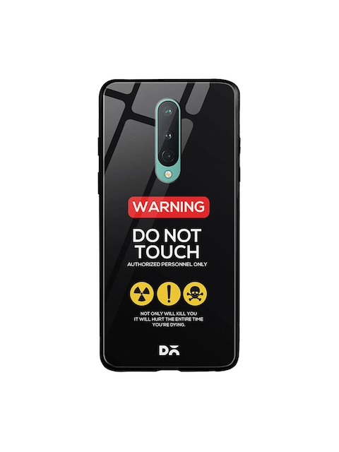 DailyObjects Black & Yellow Do Not Touch OnePlus 8 Glass Mobile Cover