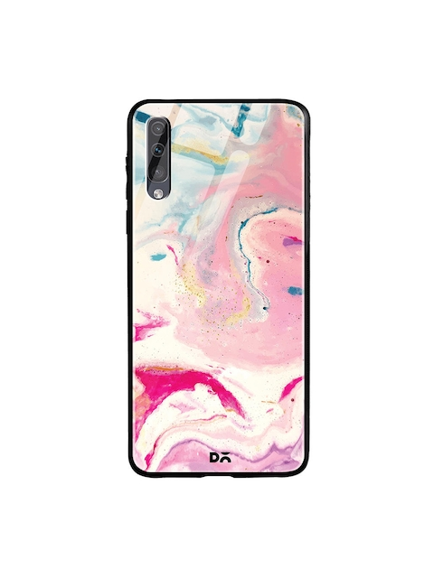 DailyObjects Cream-Coloured & Pink Shades of Marble Samsung Galaxy A70S Glass Mobile Cover