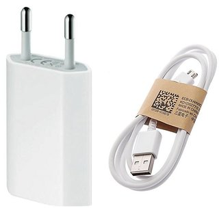Other 1 amp charging Adapter and micro usb data charging cable for smartphones (White)