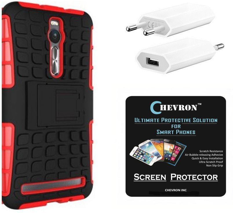 Chevron Hybrid Armor Kick Stand Shock Proof Case for Asus Zenfone 2 Deluxe ZE551ML with HD Screen Guard & USB Mobile Wall Charger Combo Set