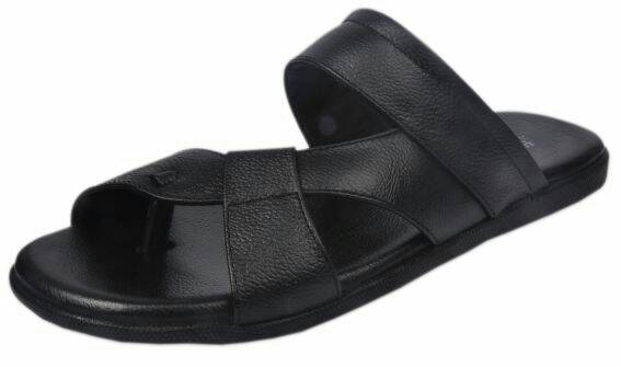 Hayst Men's Black Leather Slippers