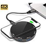 homlux USB C Hub Adapter Wireless Phone Charger - 8 in 1 Tape C Hub 4K HDMI Output, 85W USB C Power Delivery, USB 3.0 Ports, SD TF Card, Compatible MacBook Pro, Google Chromebook and More USB C Devices