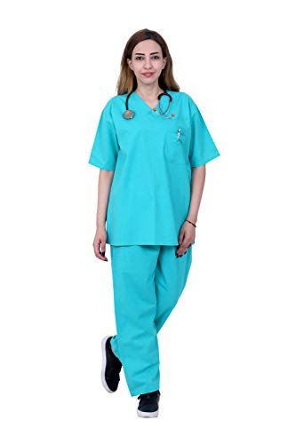 HI - FASHION (A24_X-Large) scrub for Women's Cotton Light Green/Half Sleeve Hospital T-Shirt Pant