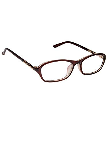 Cardon Oval Spectacles Frame With Anti-glare Blue Ray Cut Zero Power Glasses for Eye Protection from Computer Tablet Laptop Mobile/Eyeglass for Unisex [Brown]