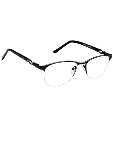 Cardon Oval Spectacles Frame With Anti-glare Blue Ray Cut Zero Power Glasses for Eye Protection from Computer Tablet Laptop Mobile/Eyeglass for Unisex [Black]