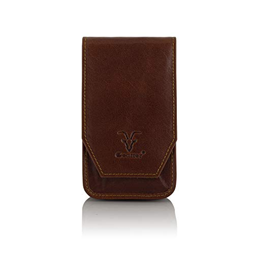 "Goatter Unisex Leather Material 6"" and 5.75"" Inch Mobile Cover Pouch with Card Holder,(Light Brown)"