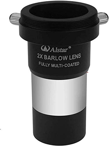 "Alstar 1.25"" 2X Barlow Lens MultiCoated Metal with M42x0.75 Thread Camera Interface for Telescopes"