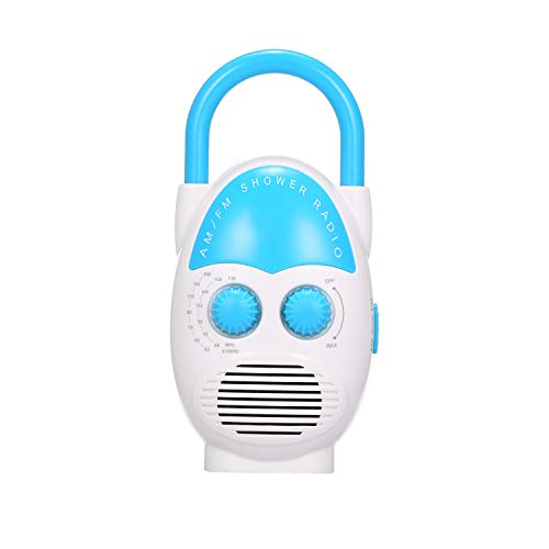 Tooarts Mini AM/FM Shower Radio Bathroom Water-Resistent Radio Hanging Music Radio Built-in Speaker