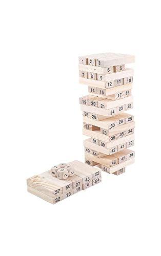 GEAR HORSE Wooden Building Blocks Puzzle 54 Pcs Challenging 4pcs Dice Wooden Stacking Game Maths for Adults and Kids