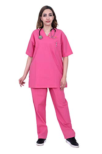 HI - FASHION(A6_Small) scrub for Women's Cotton Pink/Half Sleeve Hospital T-Shirt Pant