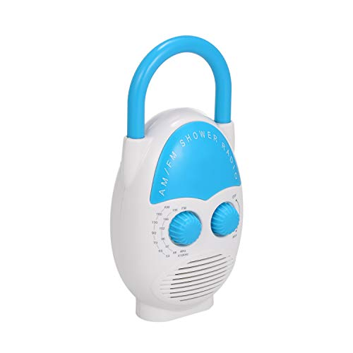 Tooarts TM125 Mini AM/FM Shower Radio Bathroom Water-Resistent Radio Hanging Music Radio Built-in Speaker
